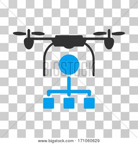 Drone Distribution icon. Vector illustration style is flat iconic bicolor symbol blue and gray colors transparent background. Designed for web and software interfaces.