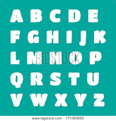 Blueprint alphabet. Vector drafting blueprint paper letters. Sketch alphabet vector