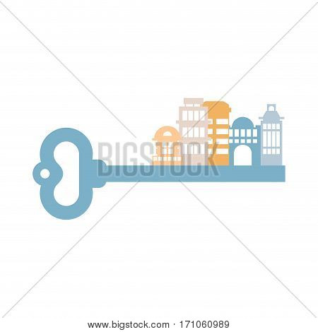 Key To City. Buildings And Homes. Urban Clue Isolated. Real Estate Agency Logo