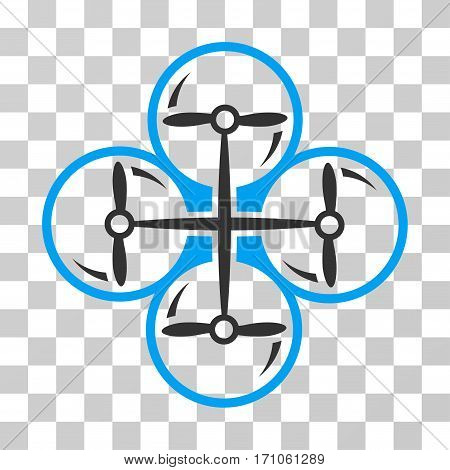 Drone Screws icon. Vector illustration style is flat iconic bicolor symbol blue and gray colors transparent background. Designed for web and software interfaces.