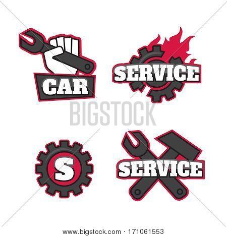 Engineering simple icons. Machine engineers. Engineering equipment vector