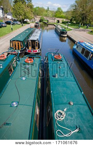 Trevor Wales United Kingdom - May 16 2016: Narrowboats on the Llangollen canal a popular holiday getaway for families and tourists to enjoy the extensive inland waterway network