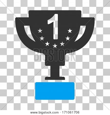 First Prize Cup icon. Vector illustration style is flat iconic bicolor symbol blue and gray colors transparent background. Designed for web and software interfaces.