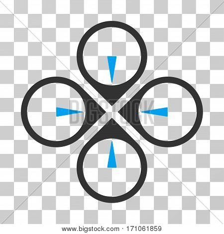 Fly Drone icon. Vector illustration style is flat iconic bicolor symbol blue and gray colors transparent background. Designed for web and software interfaces.