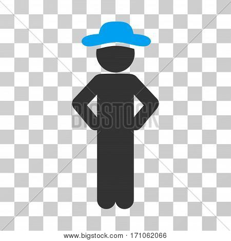 Gentleman Akimbo icon. Vector illustration style is flat iconic bicolor symbol blue and gray colors transparent background. Designed for web and software interfaces.