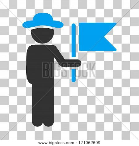 Gentleman Commander icon. Vector illustration style is flat iconic bicolor symbol blue and gray colors transparent background. Designed for web and software interfaces.