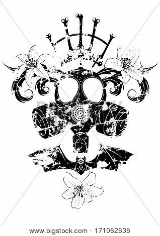 vector illustration with gas mask lily and bat in black and white