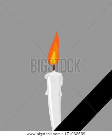 Mourning Frame Black Ribbon. Candles And Tape