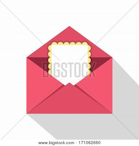 Greeting card in pink envelope icon. Flat illustration of greeting card in pink envelope vector icon for web isolated on white background
