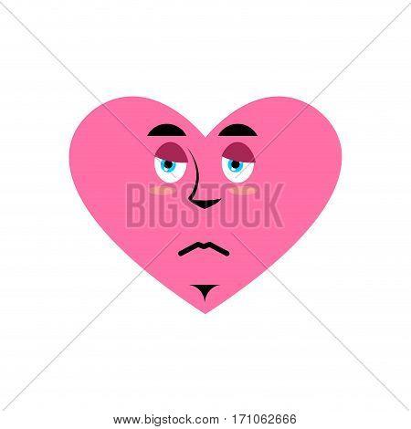 Love Sad Emoji. Heart Unhappy Emotion Isolated