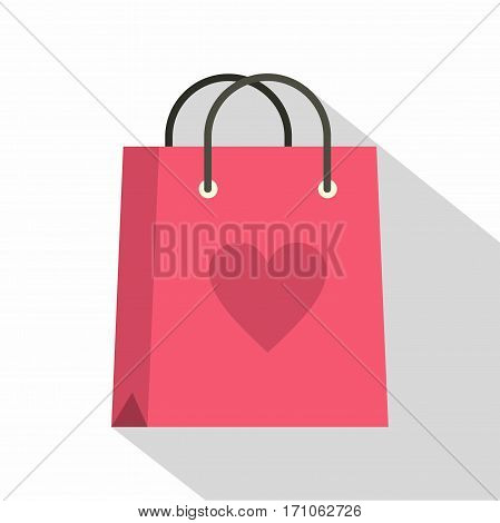Pink shopping bag with heart icon. Flat illustration of pink shopping bag with heart vector icon for web isolated on white background