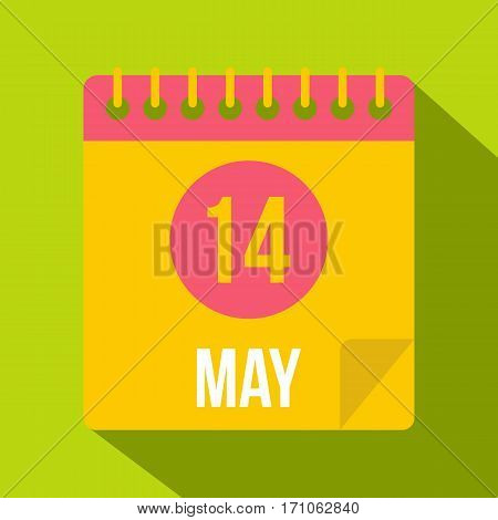 May 14 Calendar icon. Flat illustration of may 14 Calendar vector icon for web isolated on lime background