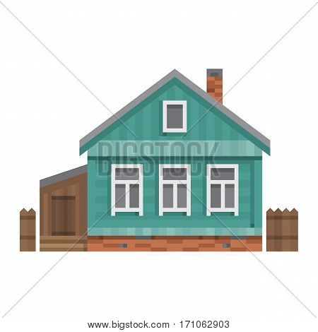 Old Russian country house. All season dacha. Wood cabin for living. Vector illustration art.