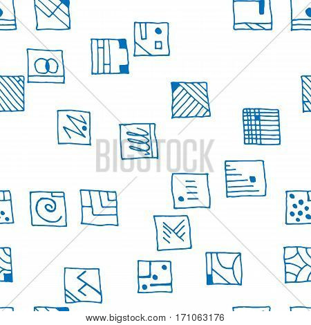 Seamless pattern rectangular blue simple shapes vector