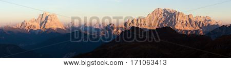 Evening panoramic view of mount Civetta and mount Pelmo South Tirol dolomites mountains Italy