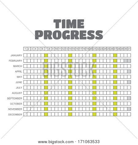 Vector timeline progress graph gantt chart of project.