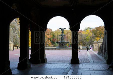 The Bethesda Fountain In An Autumn Morning