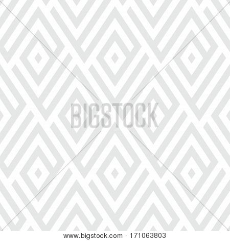 Abstract ethic geometric pattern with maze, diagonal stripes and lines in silver white. Op art seamless geometric background. Simple tribal bold print with art deco motif for wedding invitations