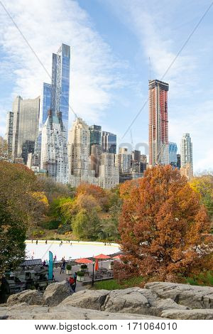Midtown From Central Park In An Autumn Morning