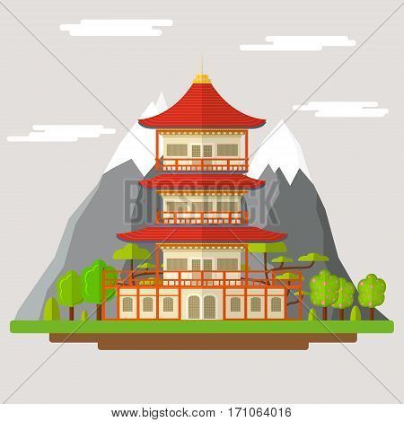 Cartoon Japanese Temple Traditional Building on a Landscape Background Flat Design Style. Vector illustration
