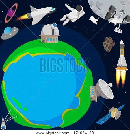 Deep space planet concept. Cartoon illustration of deep space planet vector concept for web