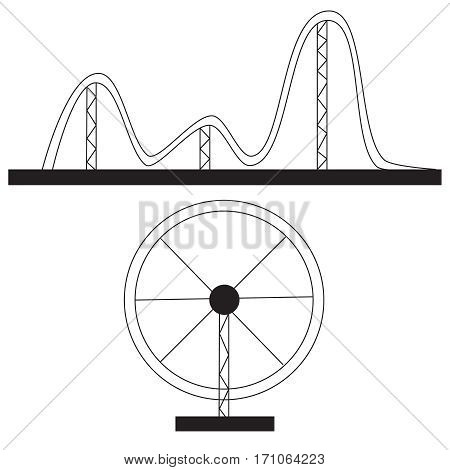 Amusement ride or luna park roller coasters entertainment vector set.