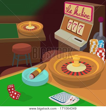 Casino game items concept. Cartoon illustration of Casino game items vector concept for web