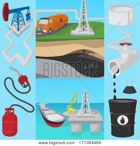 Oil industry transit concept. Cartoon illustration of oil industry transit vector concept for web