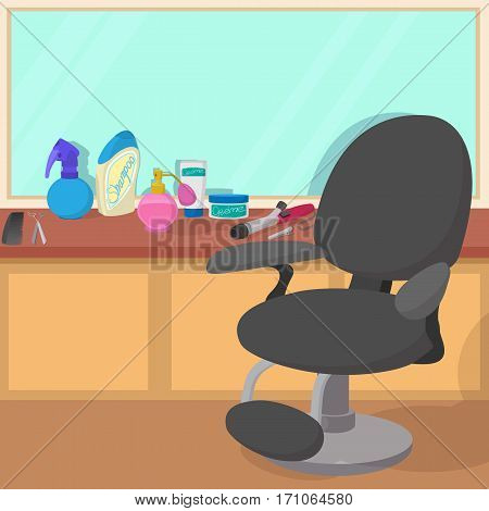 Hairdressing workspace concept. Cartoon illustration of hairdressing workspace vector concept for web