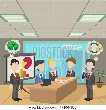 People in a meeting concept. Cartoon illustration of people in a meeting vector concept for web