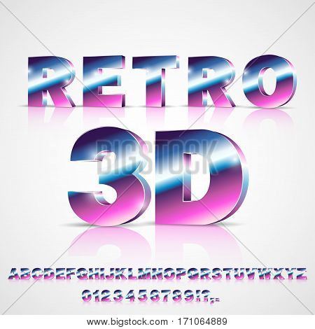3D Sci-Fi 80's retro alphabet movie font. 3D volume extrude metal chrome effect letters and numbers. Vector typeface set