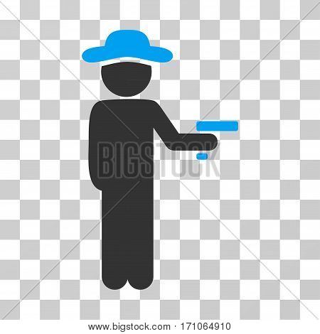 Gentleman Robber icon. Vector illustration style is flat iconic bicolor symbol blue and gray colors transparent background. Designed for web and software interfaces.