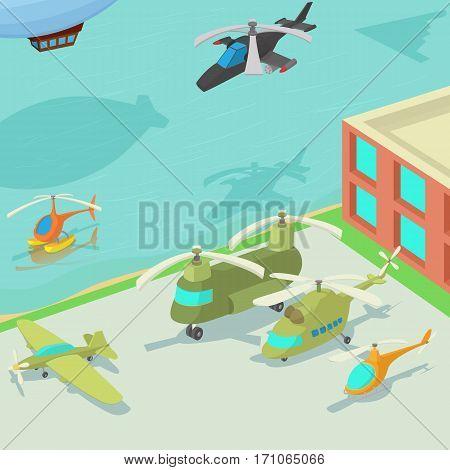 Aviation airport concept. Cartoon illustration of aviation airport vector concept for web