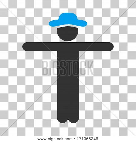 Gentleman Scarescrow icon. Vector illustration style is flat iconic bicolor symbol blue and gray colors transparent background. Designed for web and software interfaces.