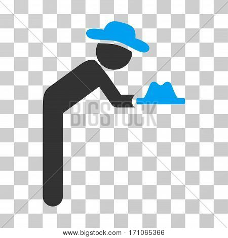 Gentleman Servant icon. Vector illustration style is flat iconic bicolor symbol blue and gray colors transparent background. Designed for web and software interfaces.