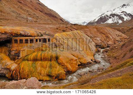 Long shot of the Inca bridge or Puente del Inca over the Vacas River close to Las Cuevas in the Province Mendoza in Argentina South America