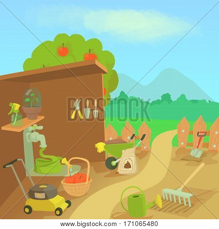 Gardening tools landscape concept. Cartoon illustration of gardening tools landscape vector concept for web
