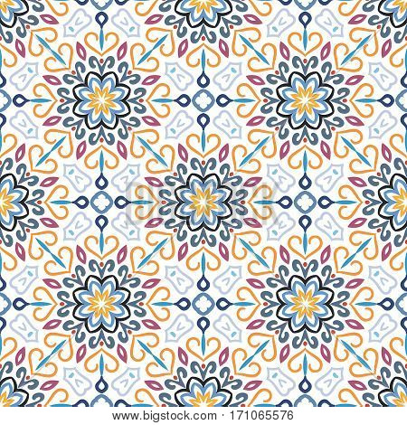 Blue flower seamless pattern. Floral background. Luxury flourish ornament vector. Colorful weave stylized intricate curvy decoration. Furniture fabric print, wallpaper. Interior design element.