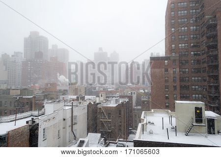 Snowy Morning From A Rooftop In Nyc