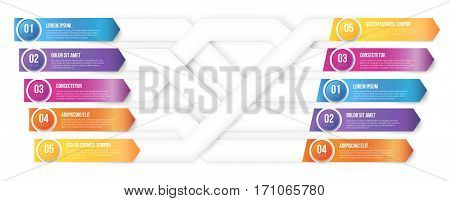 Infographics arrows, plexiform shuffle pointed to different ways. Vector illustration