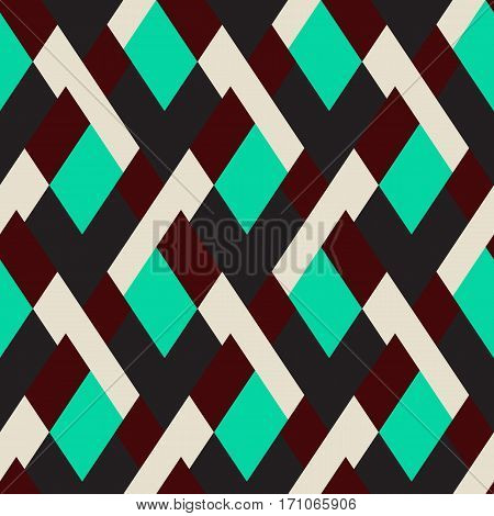 Vector geometric seamless pattern with lines and mosaic tiles in mint green, black, brown and white color. Modern bold print with diamond shape for fall winter fashion. Abstract tech op art background