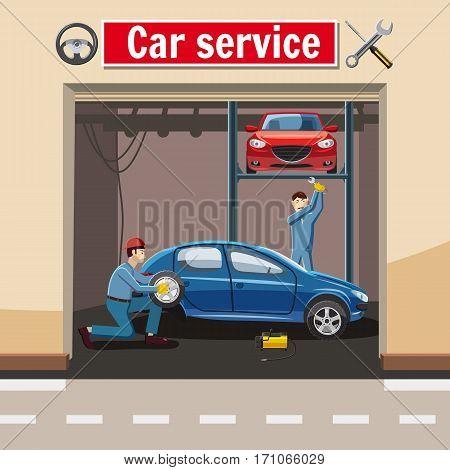 Car service station concept. Cartoon illustration of car service station vector concept for web