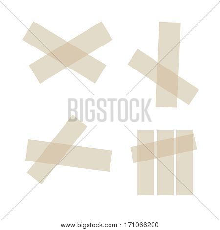 Adhesive tapes. Vector sticky glue scotch tape piece isolated