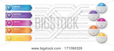 Infografics arrows, plexiform shuffle pointed to different goals. Vector illustration
