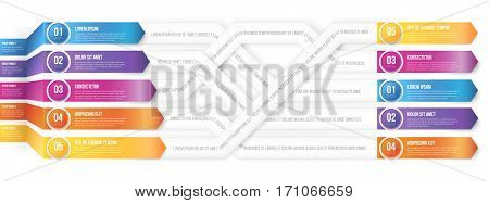 Infografics 3D style arrows, plexiform shuffle pointed to different ways. Vector illustration