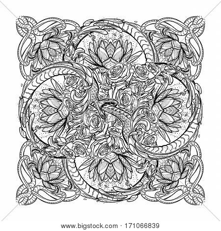 Lotus flowers and snakes arranged in an Intricate rectangular pattern isolated on white background. Concept art for Hindu or yoga and spiritual designs. Tattoo design. EPS10 vector illustration.