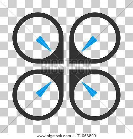 Hover Drone icon. Vector illustration style is flat iconic bicolor symbol blue and gray colors transparent background. Designed for web and software interfaces.