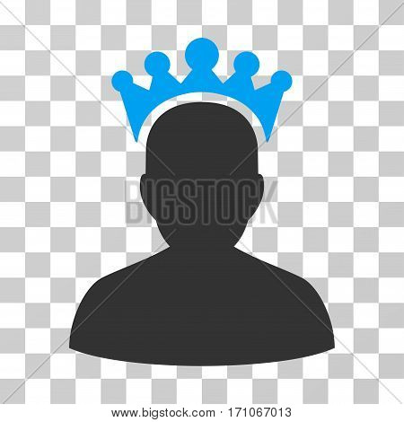 King icon. Vector illustration style is flat iconic bicolor symbol blue and gray colors transparent background. Designed for web and software interfaces.
