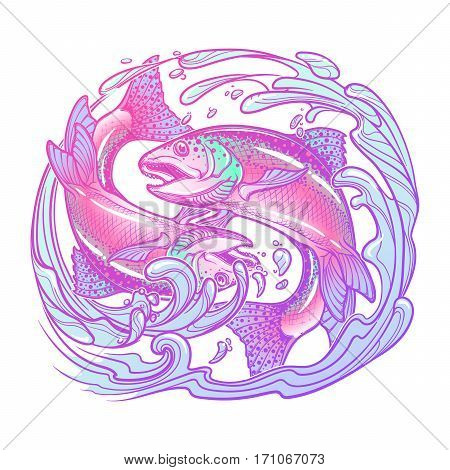Zodiac sign - Pisces. Two fishes jumping from the water. Circle composition, decorative frame of roses. Vintage art nouveau style concept art for horoscope, tattoo or colouring book. EPS10 vector