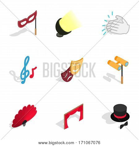 Theater performance icons set. Isometric 3d illustration of 9 theater performance vector icons for web